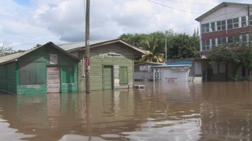San Ignacio market under water
